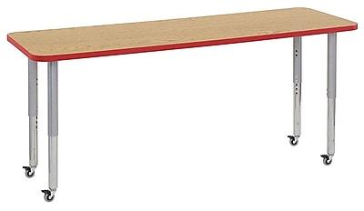 "ECR4Kids 24""W x 72""L Rectangular Contour Activity Table Oak/Red/Silver Super Legs (14709-OKRDSVSL)"