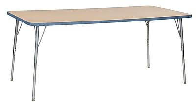 "ECR4Kids 36""W x 72""L Rectangular Contour Activity Table MP/Powder Blue/Silver Standard Legs (14713-MPPBSVSS)"