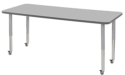"ECR4Kids 30"" x 72"" Rectangular Contour Activity Table Grey/Grey/Silver Super Leg (14712-GYGYSVSL)"