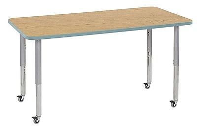 "ECR4Kids 30"" x 60"" Rectangular Contour Activity Table Oak/Seafoam/Silver Super Leg (14711-OKSFSVSL)"