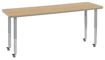 "ECR4Kids 24""W x 72""L Rectangular Contour Activity Table Oak/Light Grey/Silver Super Legs (14709-OKLGSVSL)"