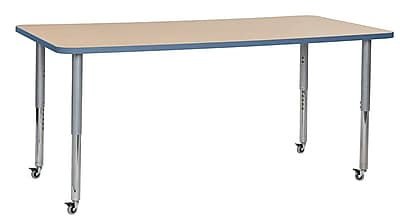 "ECR4Kids 36""W x 72""L Rectangular Contour Activity Table Maple/Powder Blue/Silver Super Legs (14713-MPPBSVSL)"