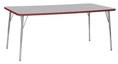 "ECR4Kids 36""W x 72""L Rectangular Contour Activity Table Grey/Red/Silver Standard Legs (14713-GYRDSVSS)"