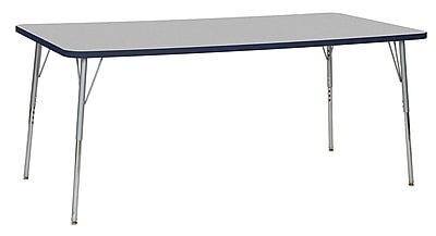 "ECR4Kids 36""W x 72""L Rectangular Contour Activity Table Grey/Navy/Silver Standard Legs (14713-GYNVSVSS)"