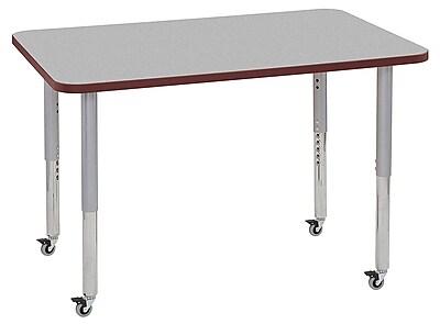 "ECR4Kids 30""x48"" Rectangular Contour Activity Table Grey/Burgundy/Silver Super Legs (14710-GYBYSVSL)"