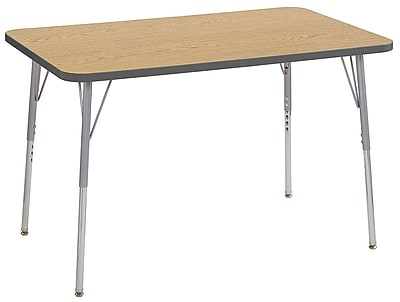 "ECR4Kids 30""x48"" Rectangular Contour Activity Table Oak/Grey/Silver Standard Legs (14710-OKGYSVSS)"
