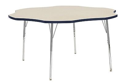 """ECR4Kids 60"""" Flower Contour Activity Table Maple/Navy/Silver Standard Legs (14702-MPNVSVSS)"""