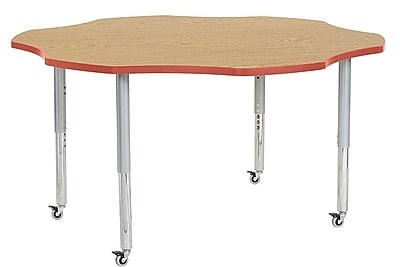 "ECR4Kids 60"" Flower Contour Activity Table Oak/Tangerine/Silver Super Legs (14702-OKTGSVSL)"