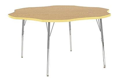 """ECR4Kids 60"""" Flower Contour Activity Table Oak/Squash/Silver Standard Legs (14702-OKSQSVSS)"""