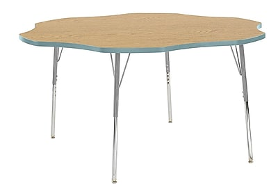 "ECR4Kids 60"" Flower Contour Activity Table Oak/Seafoam/Silver Standard Legs (14702-OKSFSVSS)"