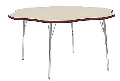 "ECR4Kids 60"" Flower Contour Activity Table Maple/Burgundy/Silver Standard Legs (14702-MPBYSVSS)"