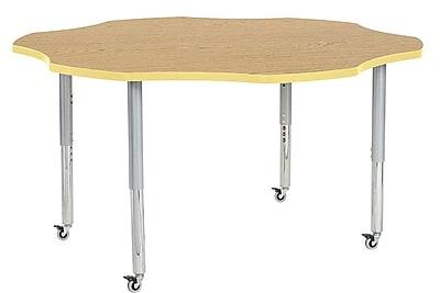 """ECR4Kids 60"""" Flower Contour Activity Table Oak/Squash/Silver Super Legs (14702-OKSQSVSL)"""