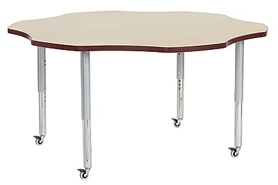 "ECR4Kids 60"" Flower Contour Activity Table Maple/Burgundy/Silver Super Legs (14702-MPBYSVSL)"