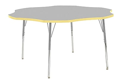 "ECR4Kids 60"" Flower Contour Activity Table Grey/Squash/Silver Standard Legs (14702-GYSQSVSS)"