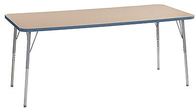 """ECR4Kids 30"""" x 72"""" Rectangular Contour Activity Table MP/Powder Blue/Silver Standard Leg (14712-MPPBSVSS)"""