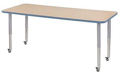 "ECR4Kids 30"" x 72"" Rectangular Contour Activity Table Maple/Powder Blue/Silver Super Leg (14712-MPPBSVSL)"