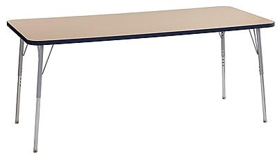 "ECR4Kids 30"" x 72"" Rectangular Contour Activity Table Maple/Navy/Silver Standard Leg (14712-MPNVSVSS)"