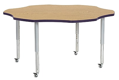 "ECR4Kids 60"" Flower Contour Activity Table Oak/Eggplant/Silver Super Legs (14702-OKEPSVSL)"