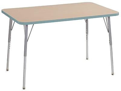 "ECR4Kids 30"" x 48"" Rectangular Contour Activity Table Maple/Seafoam/Silver Standard Leg (14710-MPSFSVSS)"