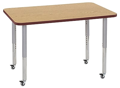 "ECR4Kids 30"" x 48"" Rectangular Contour Activity Table Oak/Burgundy/Silver Super Leg (14710-OKBYSVSL)"