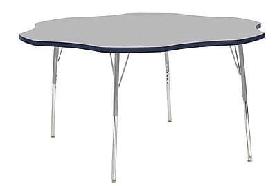 "ECR4Kids 60"" Flower Contour Activity Table Grey/Navy/Silver Standard Legs (14702-GYNVSVSS)"