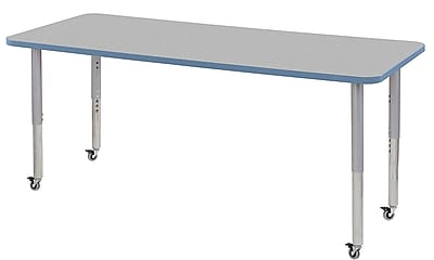 "ECR4Kids 30"" x 72"" Rectangular Contour Activity Table Grey/Powder Blue/Silver Super Leg (14712-GYPBSVSL)"