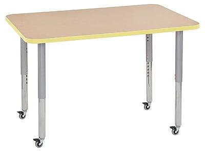 """ECR4Kids 30"""" x 48"""" Rectangular Contour Activity Table Maple/Squash/Silver Super Leg (14710-MPSQSVSL)"""