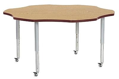 "ECR4Kids 60"" Flower Contour Activity Table Oak/Burgundy/Silver Super Legs (14702-OKBYSVSL)"