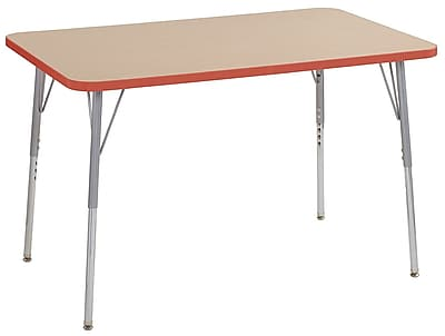 "ECR4Kids 30"" x 48"" Rectangular Contour Activity Table Maple/Tangerine/Silver Standard Leg (14710-MPTGSVSS)"