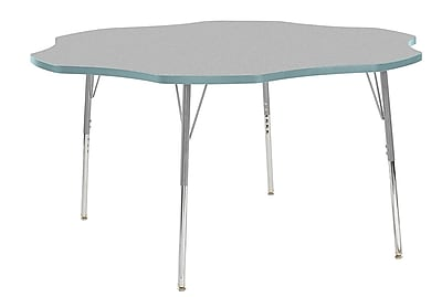 "ECR4Kids 60"" Flower Contour Activity Table Grey/Seafoam/Silver Standard Legs (14702-GYSFSVSS)"