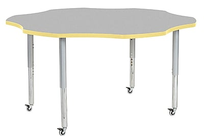 "ECR4Kids 60"" Flower Contour Activity Table Grey/Squash/Silver Super Legs (14702-GYSQSVSL)"