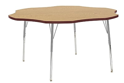 "ECR4Kids 60"" Flower Contour Activity Table Oak/Burgundy/Silver Standard Legs (14702-OKBYSVSS)"