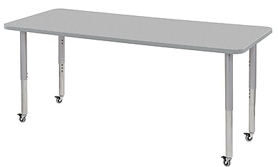 "ECR4Kids 30"" x 72"" Rectangular Contour Activity Table Grey/Light Grey/Silver Super Leg (14712-GYLGSVSL)"