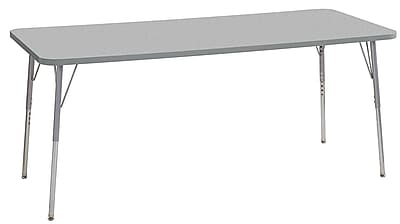 "ECR4Kids 30"" x 72"" Rectangular Contour Activity Table Grey/Light Grey/Silver Standard Leg (14712-GYLGSVSS)"