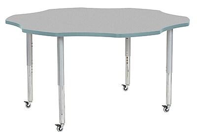 """ECR4Kids 60"""" Flower Contour Activity Table Grey/Seafoam/Silver Super Legs (14702-GYSFSVSL)"""