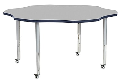 "ECR4Kids 60"" Flower Contour Activity Table Grey/Navy/Silver Super Legs (14702-GYNVSVSL)"