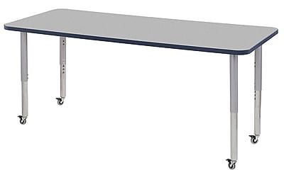 "ECR4Kids 30"" x 72"" Rectangular Contour Activity Table Grey/Navy/Silver Super Leg (14712-GYNVSVSL)"
