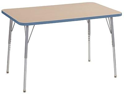 """ECR4Kids 30"""" x 48"""" Rectangular Contour Activity Table MP/Powder Blue/Silver Standard Leg (14710-MPPBSVSS)"""