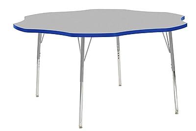 "ECR4Kids 60"" Flower Contour Activity Table Grey/Blue/Silver Standard Legs (14702-GYBLSVSS)"