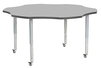 "ECR4Kids 60"" Flower Contour Activity Table Grey/Grey/Silver Super Legs (14702-GYGYSVSL)"