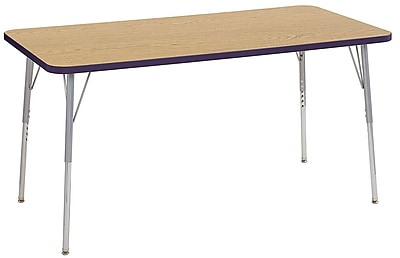 "ECR4Kids 30""W x 60""L Rectangular Contour Activity Table Oak/Eggplant/Silver Standard Legs (14711-OKEPSVSS)"