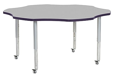 "ECR4Kids 60"" Flower Contour Activity Table Grey/Eggplant/Silver Super Legs (14702-GYEPSVSL)"