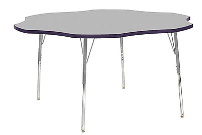 "ECR4Kids 60"" Flower Contour Activity Table Grey/Eggplant/Silver Standard Legs (14702-GYEPSVSS)"