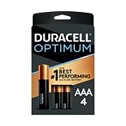 Duracell Optimum AAA  Batteries, Pack of 4/Pack, Long Lasting Alkaline Batteries with a Resealable Package (24394660)
