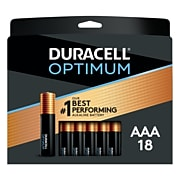 Duracell Optimum AAA  Batteries, Pack of 18/Pack, Long Lasting Alkaline Batteries with a Resealable Package (24460295)