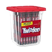 TWIZZLERS Twists Strawberry Flavored Chewy Candy, Bulk Candy, 57.5 oz, Container, 180 Twists (HEC51922)