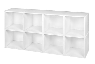 Niche Cubo Storage Set of 8 Cubes in White Wood Grain (PC8PKWH)