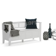 Simpli Home Adams Entryway Bench in White (3AXCADABEN-W)