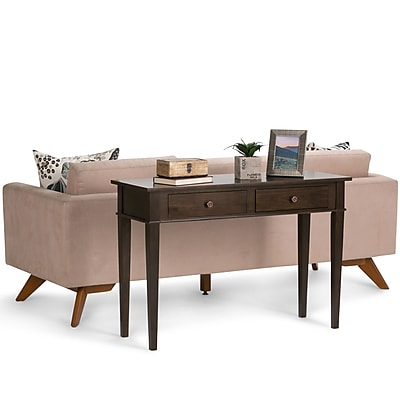 Simpli Home Carlton Console Sofa Table in Tobacco Brown (3AXCCRL-02)