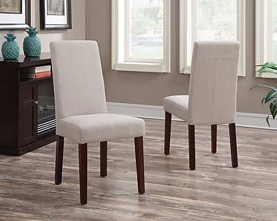 Simpli Home Acadian Linen Look Fabric Parson Dining Chair in Natural (WS5113-4-NL), 2/Set